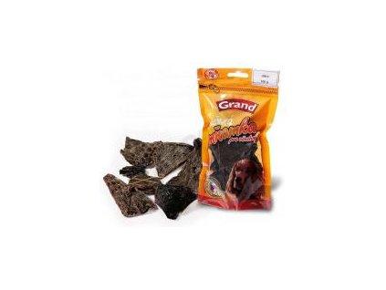 Grand Hovězí sušený bachor 80g  100% kvalitní český sušený pamlsek, který zachovává v sobě vitamíny a vše potřebné. Zároveň přispívá ke zdravějšímu chrupu