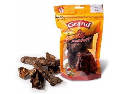 Grand Hovězí sušené plíce 50g  100100% kvalitní český sušený pamlsek, který zachovává v sobě vitamíny a vše potřebné. Zároveň přispívá ke zdravějšímu chrupu