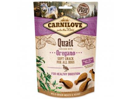 CARNILOVE Dog Semi Moist Snack Quail enriched with Oregano (200g)  Lahodný poloměkký pamlsek s křepelkou a oreganem pro zdravý metabolismus.vhodný pro všechny psy.Bez obilovin, bez přidaného cukru.