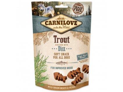 CARNILOVE Dog Semi Moist Snack Trout enriched with Dill (200g)  Lahodný poloměkký pamlsek ze pstruha s medvědím česnekem pro zlepšení nálady, ale i jako repelentní účinky, vhodný pro všechny psy.Bez obilovin, bez