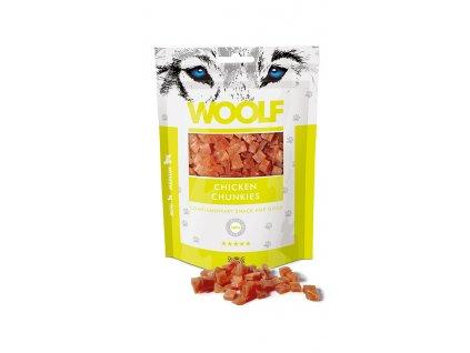 WOOLF pochoutka chicken chunkies 100g  Vysoce kvalitní masový pamlsek pro psy