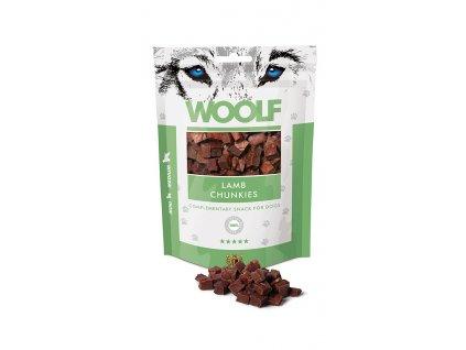 WOOLF pochoutka lamb chunkies 100g  Vysoce kvalitní masový pamlsek pro psy