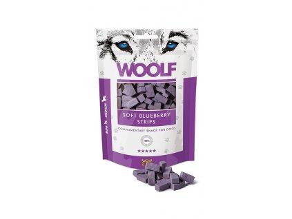 WOOLF pochoutka soft blueberry strips 100g  Vysoce kvalitní masový pamlsek pro psy