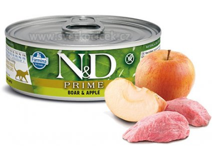 N&D CAT PRIME Adult Boar & Apple 80g  Kvalitní chutné konzervy