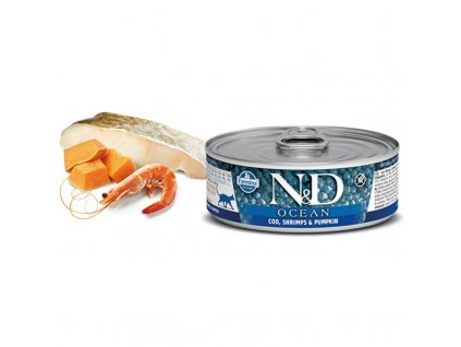 N&D CAT OCEAN Adult Codfish & Shrimps & Pumpkin 80g  Kvalitní masová konzerva