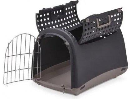 Přepravka pro kočky a psy Cabrio Antracitová IMAC 50x32x34,5cm  Praktická přepravka pro psy a kočky