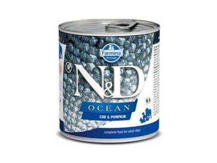 N&D DOG OCEAN Adult Codfish & Pumpkin 285g  Kvalitní masé konzervy pro psy