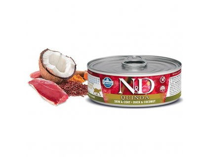 N&D CAT QUINOA Adult Duck & Coconut 80g  Kvalitní chutné konzervy