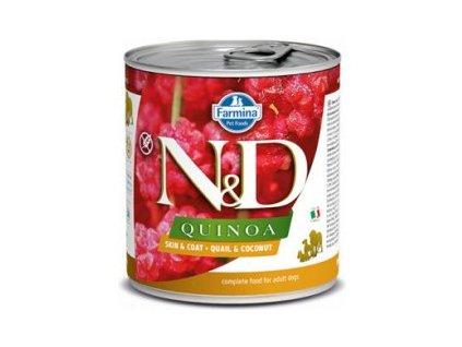 N&D DOG QUINOA Adult Quail & Coconut 285g  Kompletní vlhké krmivo pro dospělé psy určené k podpoře omezení intolerance určitých komponentů a živin.