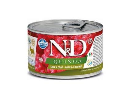 N&D DOG QUINOA Adult Duck & Coconut Mini 140g  Kompletní vlhké krmivo pro dospělé psy malých plemen určené k podpoře omezení intolerance určitých komponentů a živin.