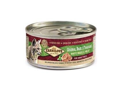 Carnilove White konz Mus Meat Duck&Pheasant Cats 100g  sleva 2% při registraci
