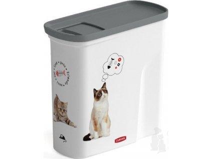 Curver kontejner na suché krmivo 2l kočka  Praktický zásobník na kočičí granule nebo pamlsky, které uchová stále čerstvé