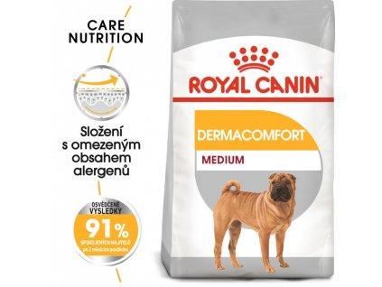ROYAL CANIN Medium Dermacomfort granule pro střední psy s problémy s kůží  Granule pro psy s citlivou kůží