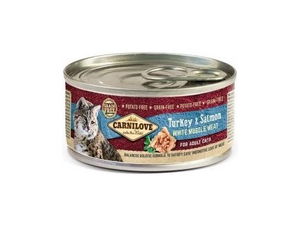 Carnilove White konz Mus Meat Turkey&Salmon Cats 100g  Kvalitní masove konzervy pro dospělé kočky