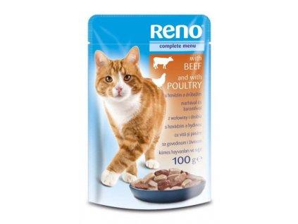 Reno kapsička pro kočky Hovězí & Drubeží 100 g  sleva 2% při registraci
