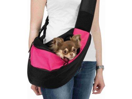 Přenosná taška přes rameno Sling 50x25x18 cm růžovo/černá