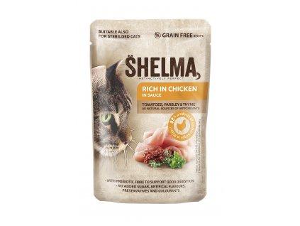 SHELMA Cat kuřecí s rajčaty a bylinkami v omáčce, kapsa 85 g