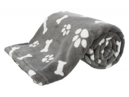 Plyšová deka KENNY 75 x 50 cm šedá s kostičkami a packami