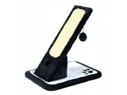 Škrábadlo s hračkou, nakloněná plošina 30x42x40cm - černá/krém