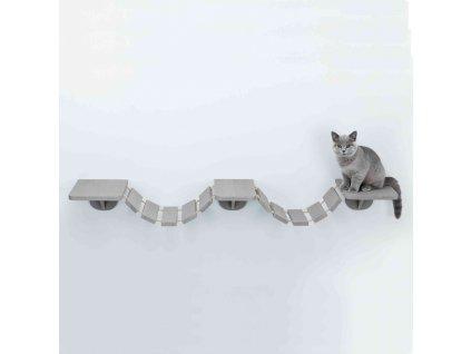 Šplhací žebřík k upevnění na stěnu, 3 platformy, 150x30cm, šedohnědá