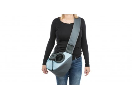 Taška přes rameno SLING, 50 x 25 x 18cm, světlešedá/světlemodrá