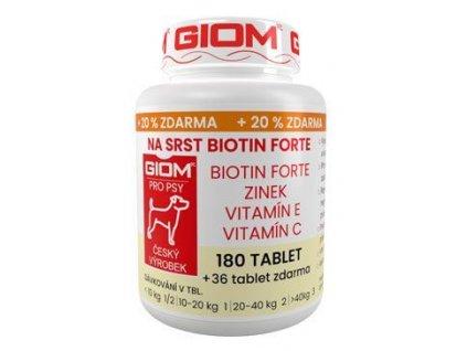 Giom pes Na srst Biotin FORTE 180 tbl+20% zdarma