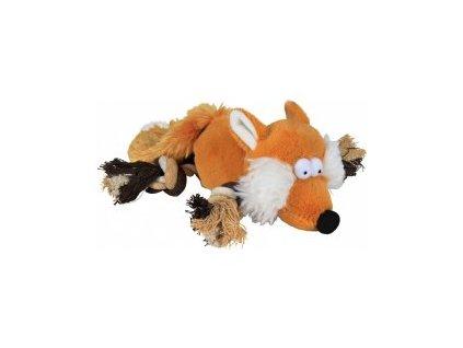 Plyšová liška s bavlněnými uzlíky 34cm