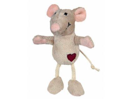 Plyšová myš se srdíčkem 11 cm