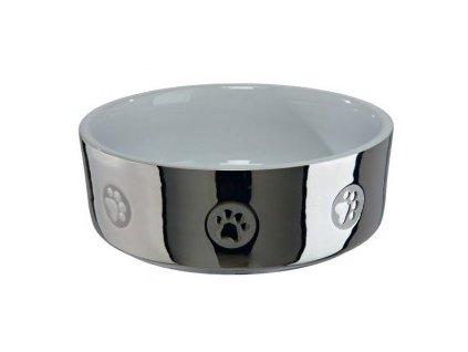 Keramická miska pro kočky s packami 0,3 l/11cm stříbrno/bílá