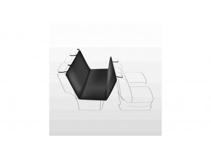 Autopotah nylon/flíz, černý s béžovými packami 1,40 x 1,45 m