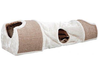 Plyšový škrábací tunel pro kočky 110x30x38 cm -sv.šedý/hnědý