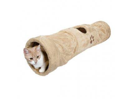 Plyšový tunel pro kočky 25x125cm - béžový