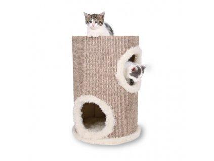 Škrábací věž s pelíšky a hračkou 33/50 cm
