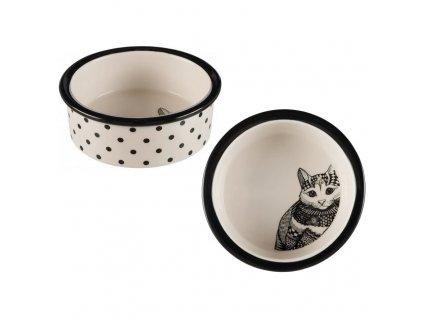 Keramická miska Zentangle pro kočky 0,3l/12 cm bílo/černá