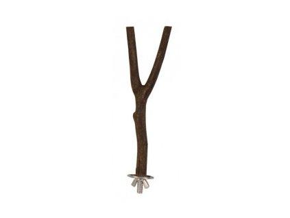 Dřevěné bidýlko Y s kovovým úchytem do klece 20cm