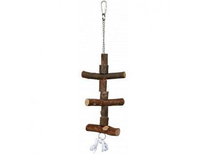 Závěsná hračka z přírodního dřeva pro andulky 40 cm
