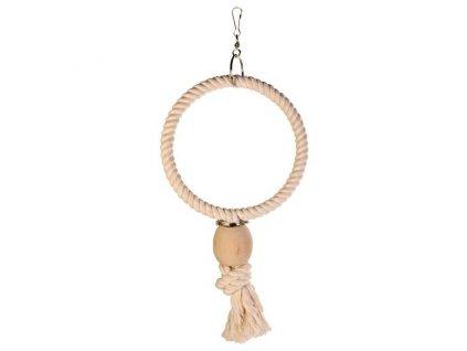 Závěsný bavlněný kruh s dřevěnou koulí 16cm