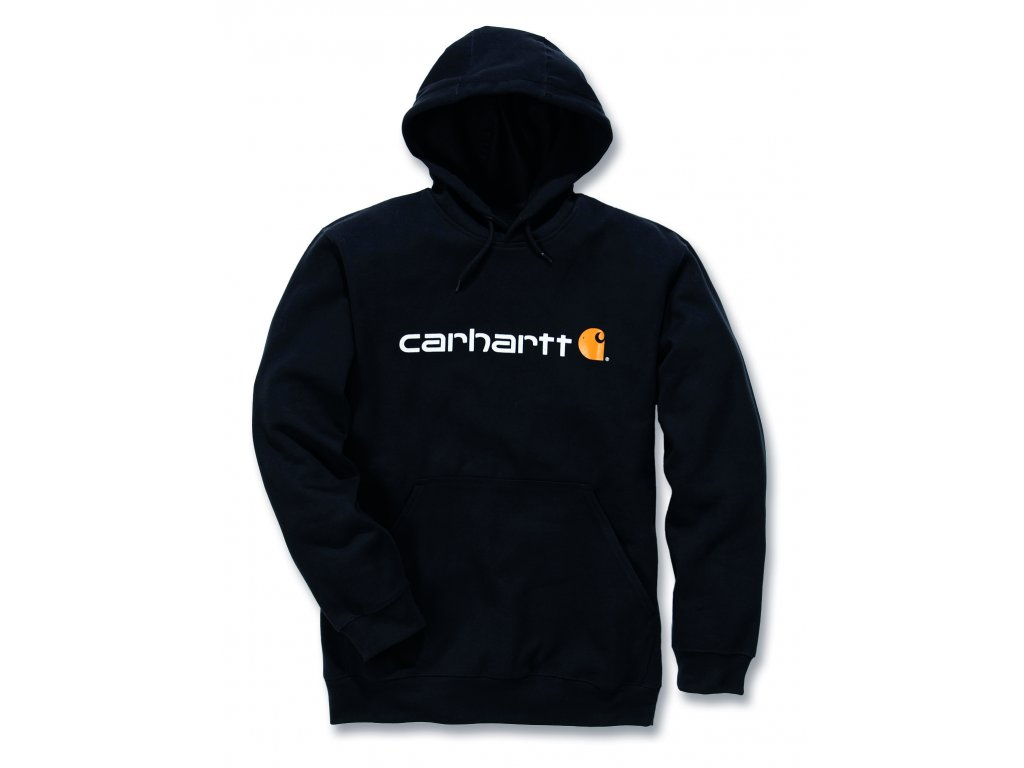 Mikina Carhartt černá SIgnature Logo Midweight Hooded Swearshirt