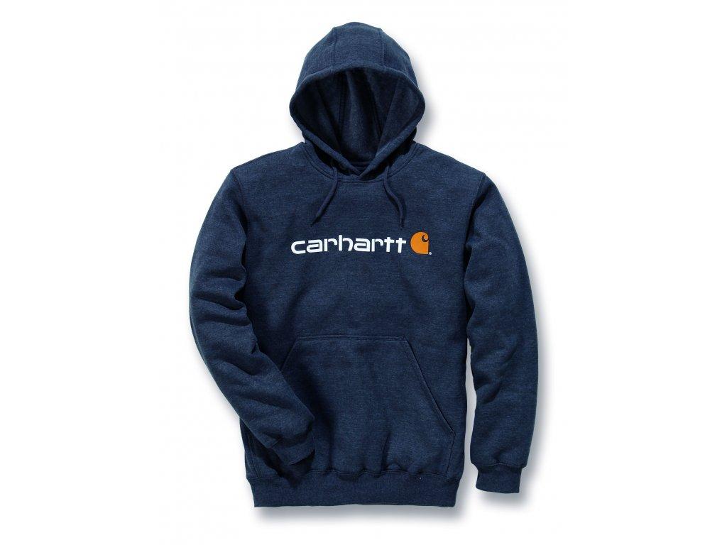 Mikina Carhartt tmavě šedá SIgnature Logo Midweight Hooded Swearshirt