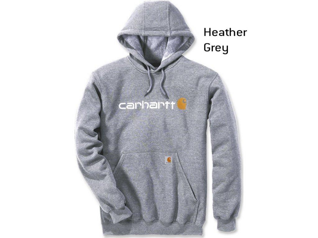 Mikina Carhartt šedá SIgnature Logo Midweight Hooded Swearshirt