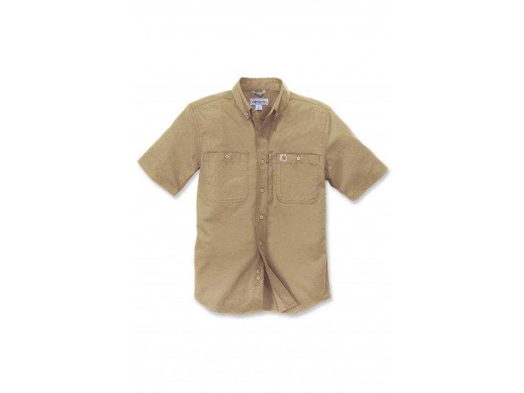 Košile s límečkem Carhartt khaki Rugged Professional Short Sleeve Work Shirt