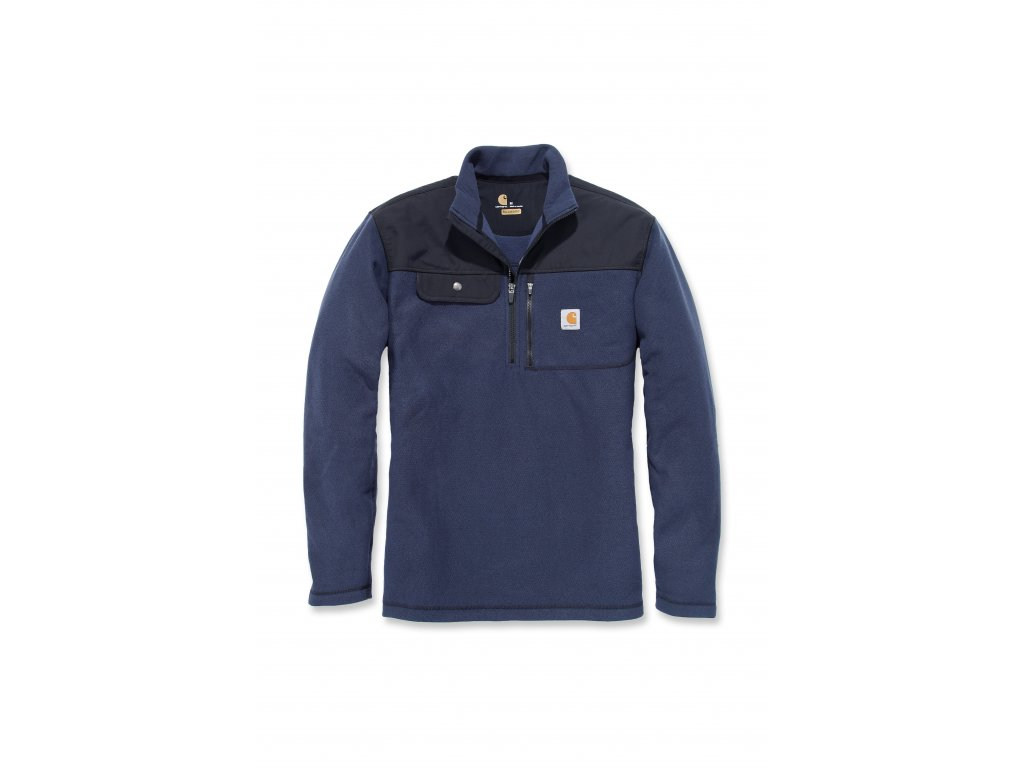 Mikina Carhartt modrá Fallon Half-zip Sweatshirt