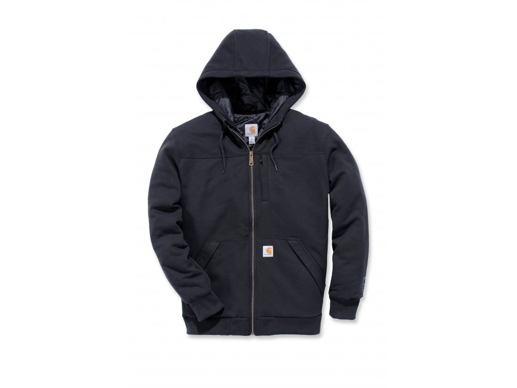 Mikina Carhartt černá Rockland Quilt-Lined Full-Zip Hooded Sweatshirt