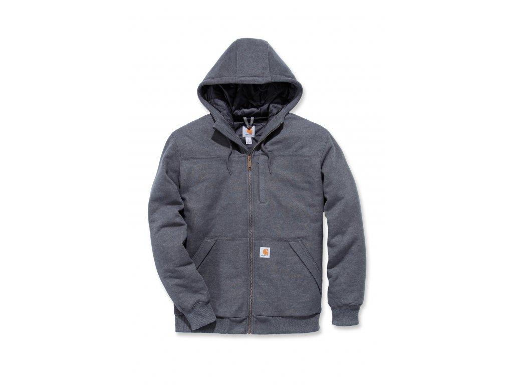 Mikina Carhartt šedá Rockland Quilt-Lined Full-Zip Hooded Sweatshirt