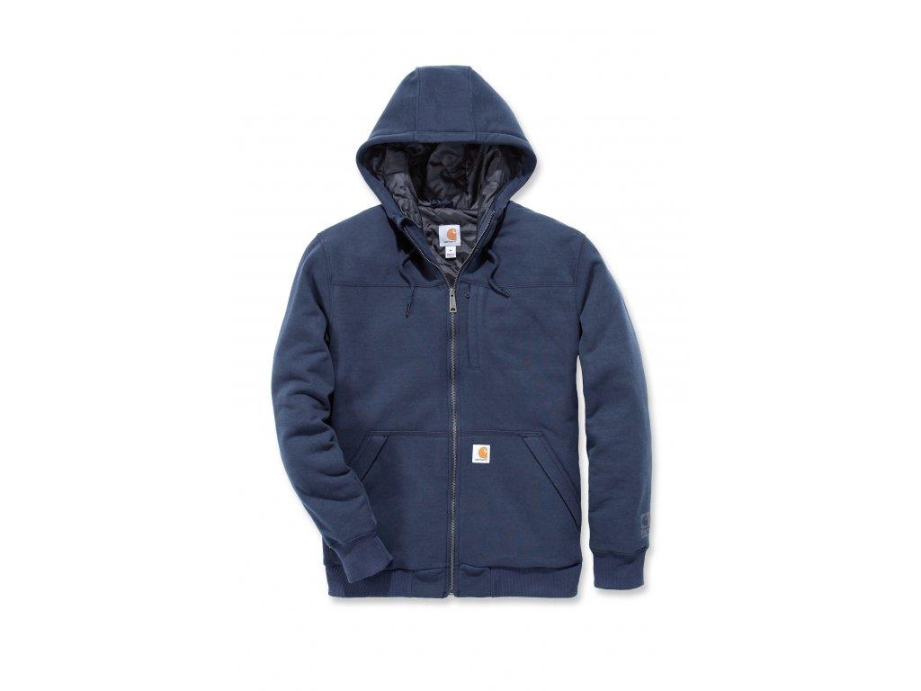 Mikina Carhartt modrá Rockland Quilt-Lined Full-Zip Hooded Sweatshirt