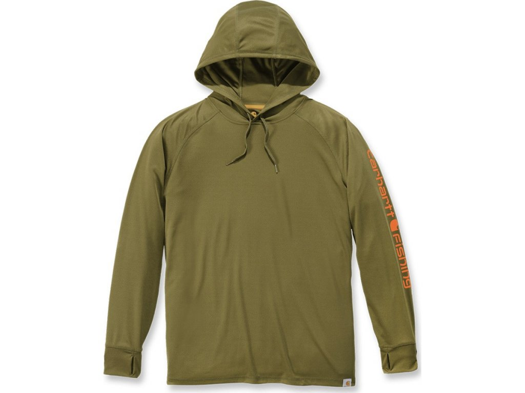 Triko Carhartt Force Fishing Graphic Long-Sleeve Hooded T-shirt