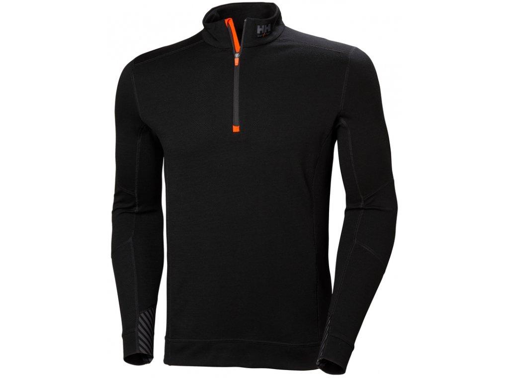 Funkční tričko s merinem a zipem ke krku HH LIFA MERINO Helly Hansen - černé XS černá
