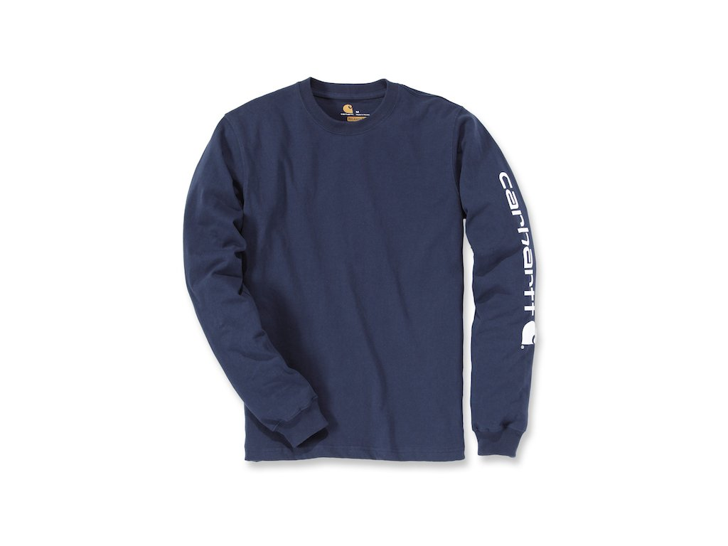 Triko Carhartt modrá Long-Sleeve Graphic Logo T-Shirt
