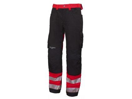 Reflexní řemeslnické kalhoty York CL1- červená Hi-Vis
