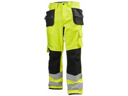 Reflexní řemeslnické kalhoty Alna CL2 - žlutá Hi-Vis